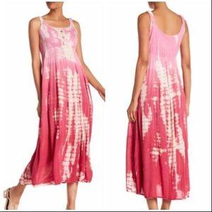 Nostalgia Pink & White Tie-Dye Maxi Dress